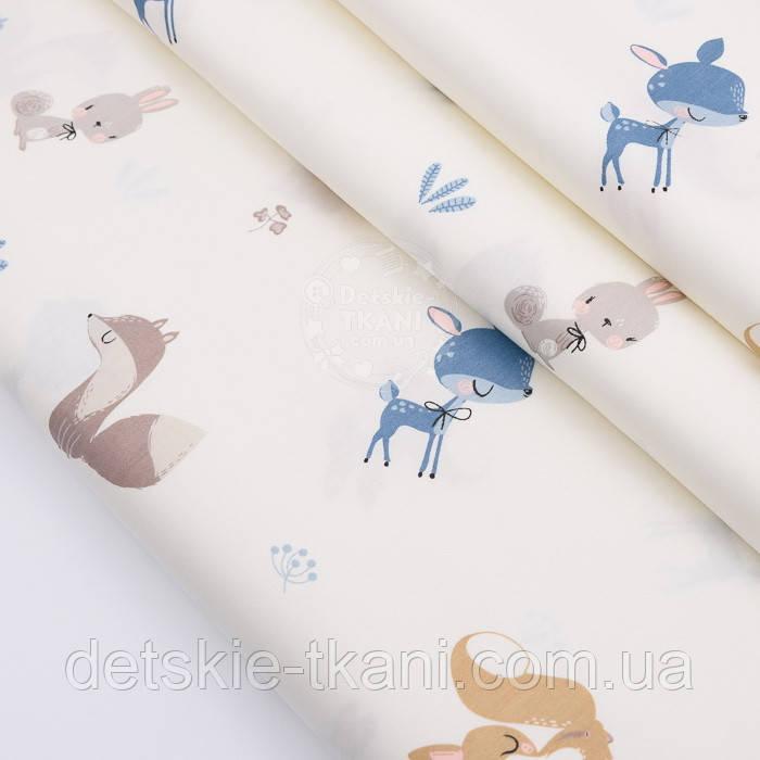"""Відріз сатину """"Лисиці, косулі, зайці, конюшина і дикий кріп"""" коричнево-блакитні на молочному, розмір 80 * 160 см"""