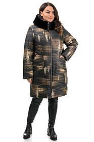 Куртка теплая в  красивый принт украшенная мехом, большие размеры 48-58