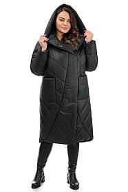 Зимнее пальто черное  миди длины с капюшоном, размеры 44-48