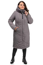 Приталенное зимнее серое пальто женское с мехом, большого размера от 50 до 62