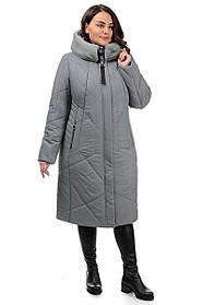 Модное зимнее пальто серое из плащевки с утеплением и высоким меховым воротником, большие размеры  50-62