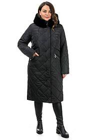 Теплая женская длинная куртка с отворотом из эко-меха, большие размеры 50-62