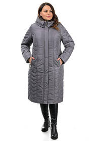 Зимнее женское длинное  пальто серого цвета из водонепроницаемой плащевки, большого размера 50-62