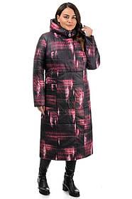 Эксклюзивное пальто женское из плащевки с розовыми полосками, больших размеров 46-56
