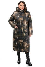 Демисезонное длинное пальто куртка с оригинальным принтом коричневого цвета, большие размеры от 46 до 56