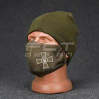 Маска для обличчя трикотажна багаторазова хакі з нанесенням ЗСУ