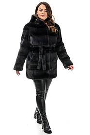 Шуба короткая черная из эко-меха зима, большие размеры от 46 до 52