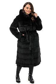 Красивая шуба зимняя с поясом и капюшоном, большие размеры 48, 50, 52, 54, 56