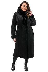 Длинная дубленка женская декорированная мехом натуральной норки цвет черный, большие размеры 50-62