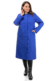 Прямой женский плащ классический, синего цвета свободного кроя, большие размеры 48-56