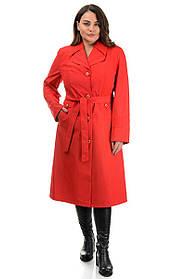 Базовый женский длинный плащ из плащевки цвет ярко-красный, большие размеры 50-62
