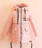 Детская лаковая куртка на девочку 134 размер, демисезонная весна-осень