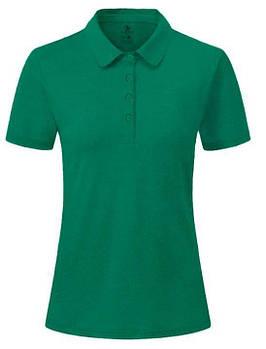 Футболка поло однотонная женская, цвет зеленый