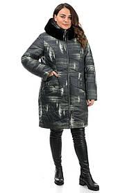 Куртка женская миди с  меховых отворотом  черная в принт, большие размеры  48, 50 52, 54, 56, 58