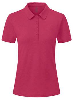Футболка поло жіноча однотонна, колір темно рожевий