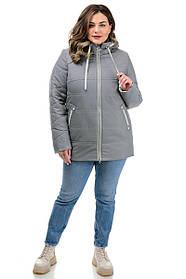 Классическая женская куртка серая с воротником-стойка, больших размеров 50-60