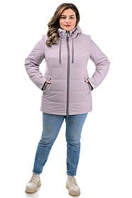 Классная короткая куртка из плащевки на весну или осень цвет бежевый, большие размеры 50-60