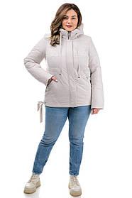 Белая женская куртка утепленная с бантиками и съемным капюшоном, большие размеры   50-58