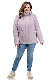 Укороченная женская лиловая куртка с оригинальной прострочкой и капюшоном, большие размеры  50-58