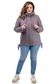 Стильная женская куртка на весну-осень с высоким воротником большие размеры 50-58