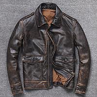 Мужская куртка Urban из натуральной кожи L коричневая. (01351)