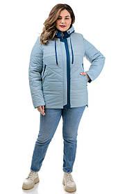 Куртка женская короткая прямая  голубого цвета из плотной плащевки на силиконе, большие размеры от  50 до 60