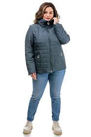 Весенняя женская куртка короткая из плащевки серого цвета, большие размеры 48-58