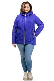Короткая куртка женская ярко-синяя из плащевки с утеплением, большие размеры от 48 до 58