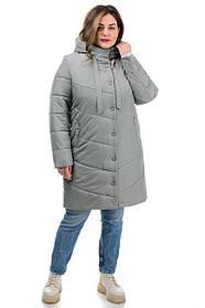 Актуальная женская куртка серая на молнии и кнопках непромокаемая, большие размеры от   46 до 54