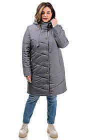 Модное полупальто серого цвета из плащевки с капюшоном, большие размеры от  46 до 54