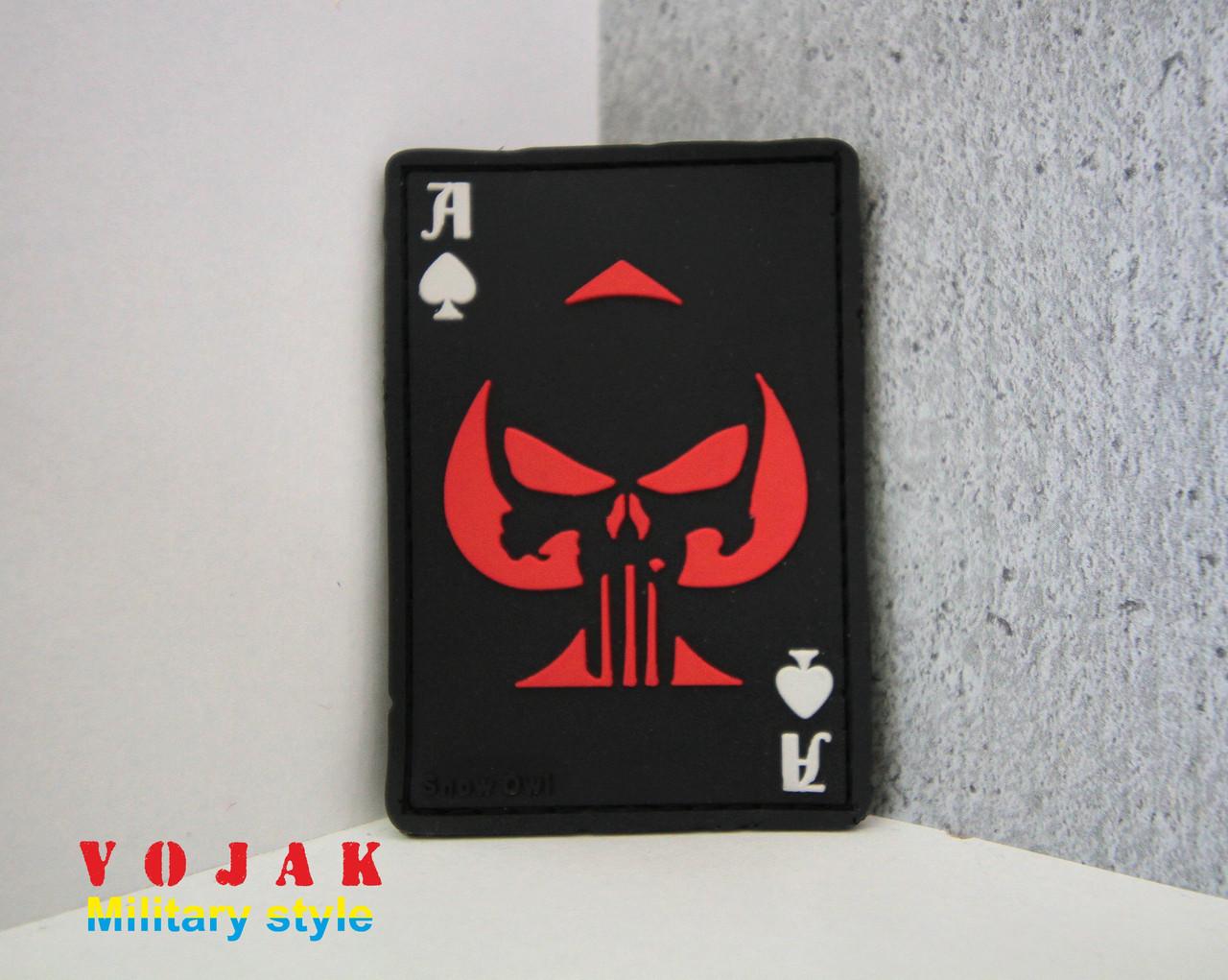 Шеврон ПВХ «Ace of Spades» (Піковий Туз) чорно / червоний