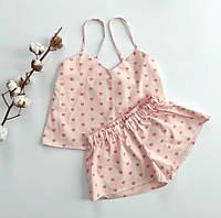 Женская розовая пижама в сердечки из сатина