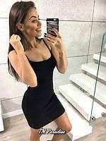 Женское летнее платье майка облегающее спортивное бордово черное 42-44 46-48 классическое короткое мини хлопок
