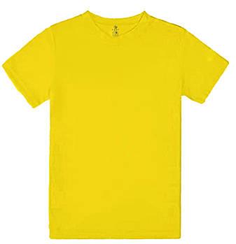 Футболка однотонна дитячий, колір жовтий, кругла горловина