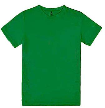 Футболка однотонна дитячий, колір зелений, кругла горловина