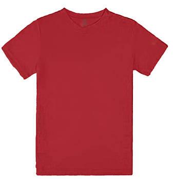 Футболка однотонна дитячий, колір червоний, кругла горловина