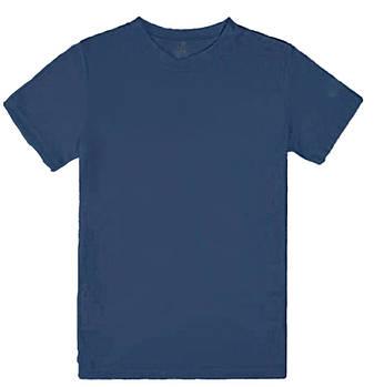 Футболка однотонна дитячий, колір синій, кругла горловина
