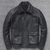 Мужская кожаная куртка Urban M черная. (01343)
