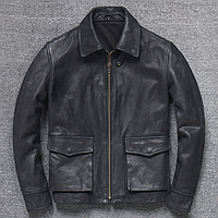 Мужская кожаная куртка Urban L черная. (01343)