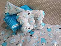 Комплект постельного белья для новорожденных Манюня Овечки в кроватку ( коляску) плед + подушка + простынь