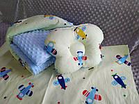 Комплект постельного белья для новорожденных Манюня Самолетики в кроватку ( коляску) плед + подушка + простынь