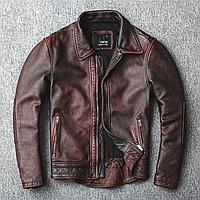 Мужская куртка из натуральной кожи Urban XL коричневая. (01342)