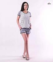 Річна жіноча піжама футболка з шортами бавовняна сіра р. 42-54, фото 1