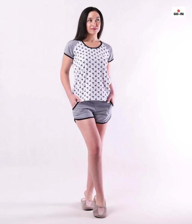 Річна жіноча піжама футболка з шортами бавовняна сіра р. 42-54