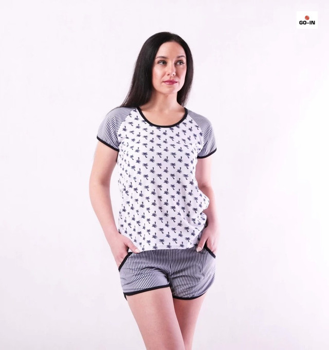 Річна жіноча піжама футболка з шортами бавовняна сіра