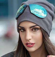 Супер шапка однотонная с съёмными очками серая