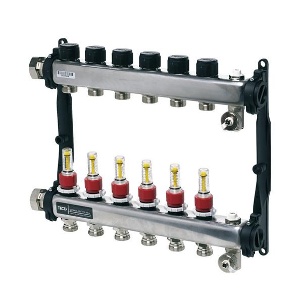 TECEfloor Коллектор для отопления, на 7 контуров с расходомерами, нержавеющая сталь