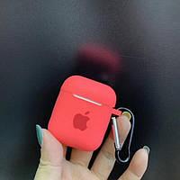 Силиконовый чехол кейс для наушников Apple Airpods 2  Кораловый с карабином   Оригинал