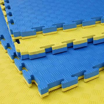"""Мат""""ластівчин хвіст"""" 1м*1м*2,5 см, жовто/блакитний EVA25YB, фото 2"""