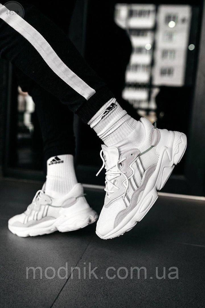 Рефлективні чоловічі кросівки Adidas Ozweego (білі) спортивні весняні кроси 445TP